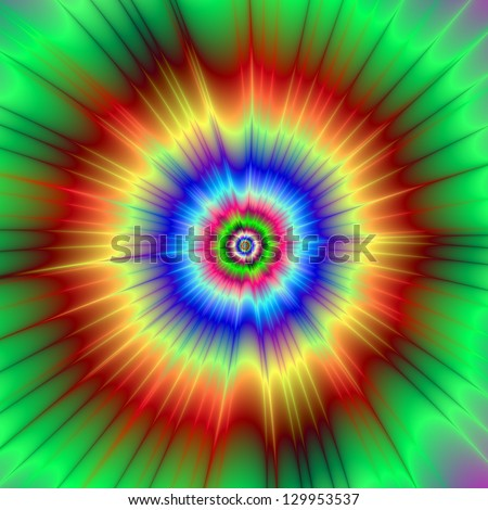 Orange and Green Color Explosion / Digital abstract fractal image with a tie dye  color explosion design in orange, green and blue.