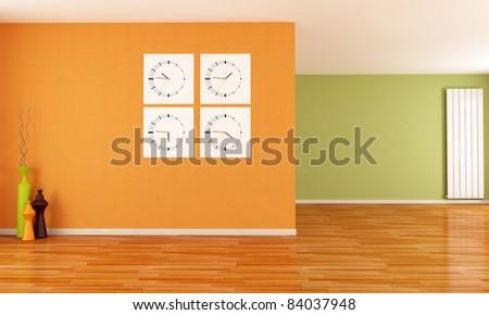 orange and green empty interior with clocks and radiator - rendering - stock photo
