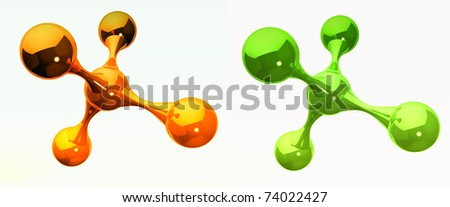orange and green reflective isolated molecules