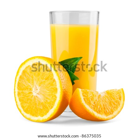 Orange and half with leaves and juice on white background