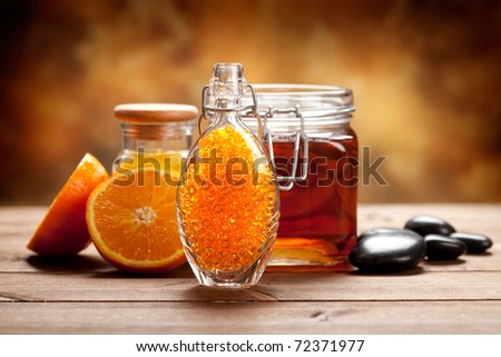 Orange and honey - Natural Spa treatment - stock photo