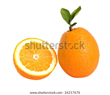 Orange and its section isolated on white background