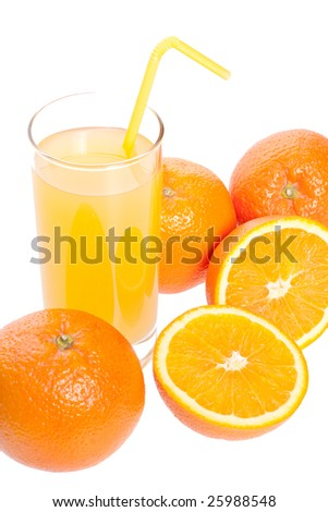 orange and juice in glass on a white background