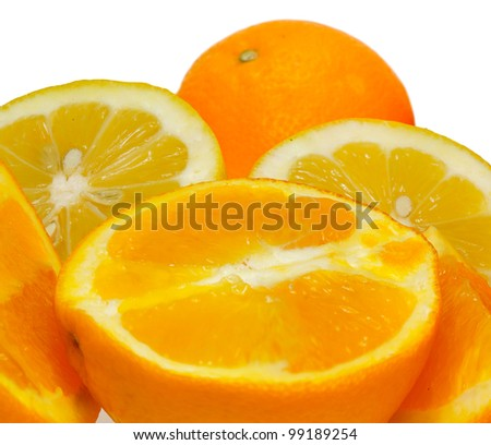 Orange and lemon fruits isolated on white background