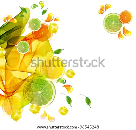 Orange and lime juice colorful splash with abstract wave, illustration - stock photo