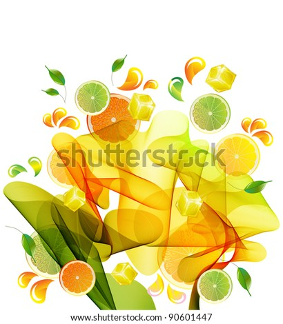 Orange and lime juice splash with abstract wave - stock photo
