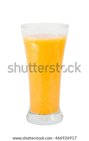 orange and mango juice  in a glass on white background