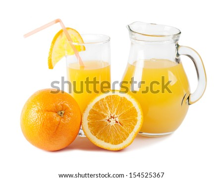 Orange and orange juice isolated on white