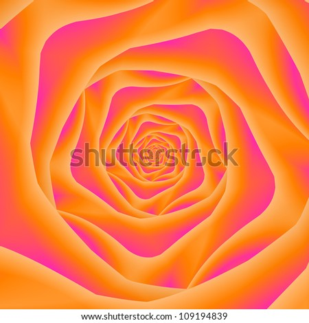 Orange and Pink Rose Spiral/Computer generated fractal image with a spiral rose design in orange and pink.