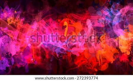Orange and pink smoke background. Raster version - stock photo