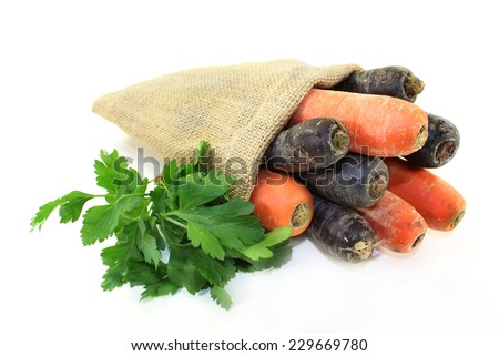 orange and purple carrots in a jute sack - stock photo