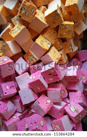 orange and purple nougat                    - stock photo