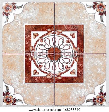 Orange And Red Decorative Ornate Spanish Tiles Stock Photo