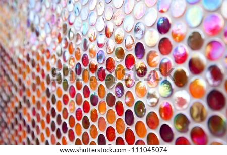 Orange and red round glass mosaic pattern - stock photo