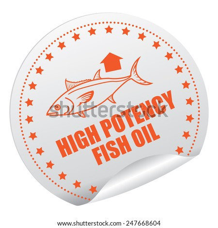 Orange and Silver High Potency Fish Oil Sticker, Icon, Badge, Sign or Label Isolated on White Background  - stock photo
