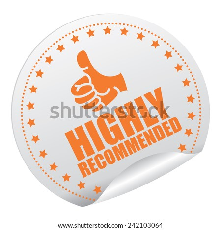 Orange and Silver Metallic Highly Recommended Sticker, Icon or Label Isolated on White Background  - stock photo