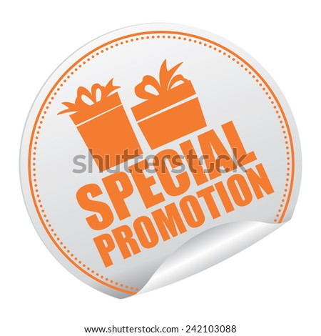 Orange and Silver Metallic Special Promotion Sticker, Icon or Label Isolated on White Background