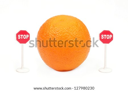 "Orange and the signs ""Stop"" from two parties on a white background - stock photo"