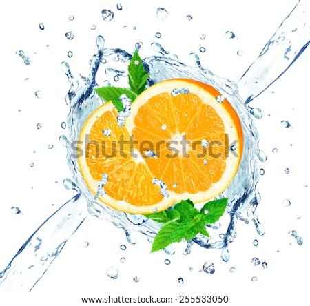orange and water splash - stock photo