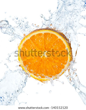 Orange and water splash on a white background - stock photo