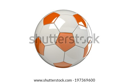Orange and white football soccer ball isolated on white