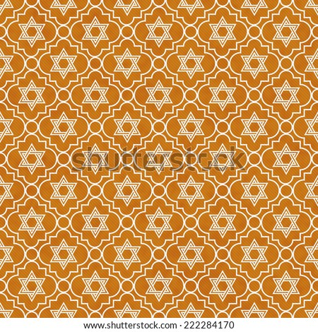 Orange and White Star of David Repeat Pattern Background that is seamless and repeats