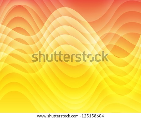 Orange and yellow background of abstract warm curves - stock photo