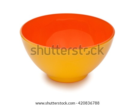 Orange and yellow colors ceramic bowl isolated on white background - stock photo
