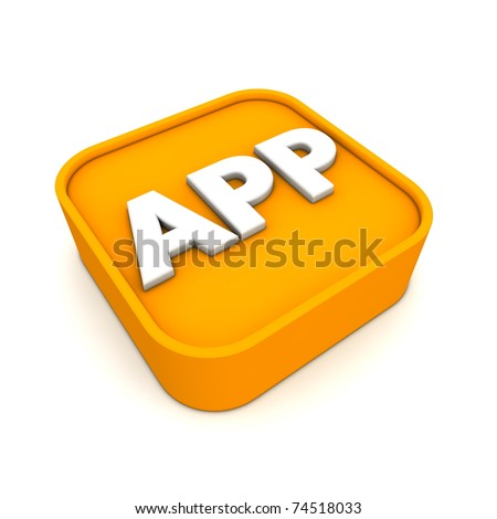 orange APP symbol rendered in 3D isolated on white ground - lying
