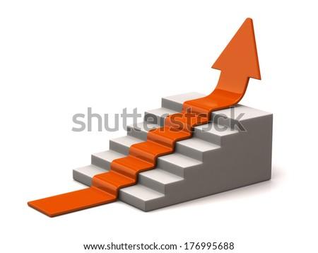 Orange arrow climbs upwards on white background - stock photo