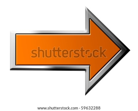 Orange arrow with chrome frame on white background