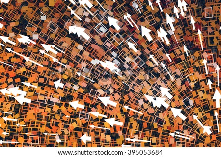 Orange, arrows flowing, abstract background, digital art work.