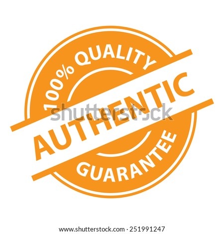 Orange Authentic 100% Quality Sign, Icon, Label or Sticker Isolated on White Background