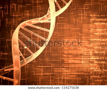 Orange background DNA Helix squares and text - stock photo