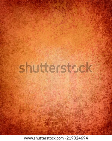 orange background paper, vintage texture and distressed red grunge border - stock photo