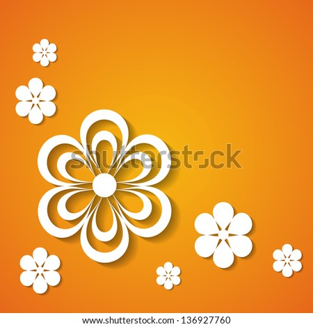 orange background with flowers (raster version of the vector) - stock photo