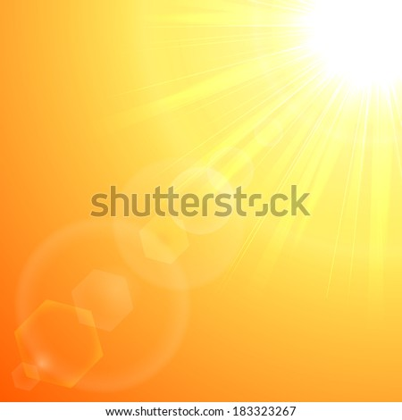 Orange background with shining Sun in a corner, illustration.