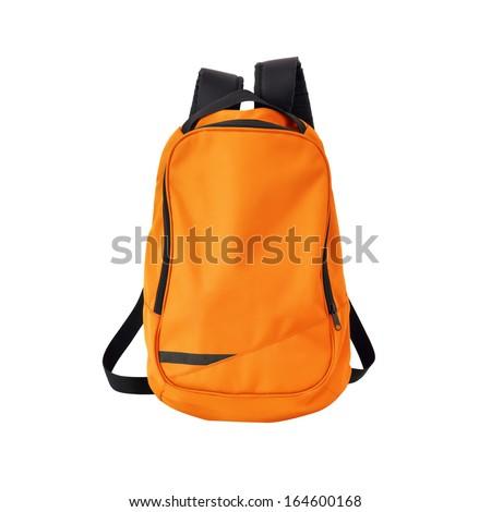 Orange backpack isolated on white background w/ path - stock photo