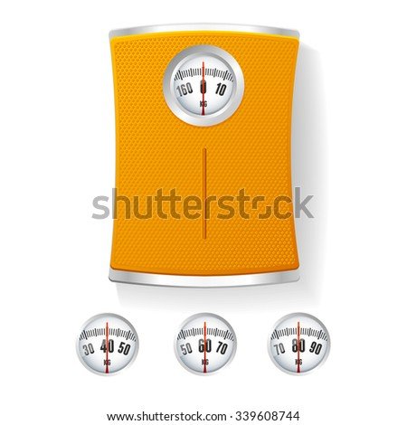 Orange Bathroom Scale with Different Dials. The Concept of Control of Body illustration - stock photo