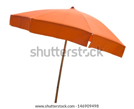 Orange beach umbrella isolated on white with clipping path - stock photo