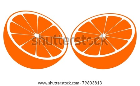 Orange Bisected In Half, Illustration - stock photo