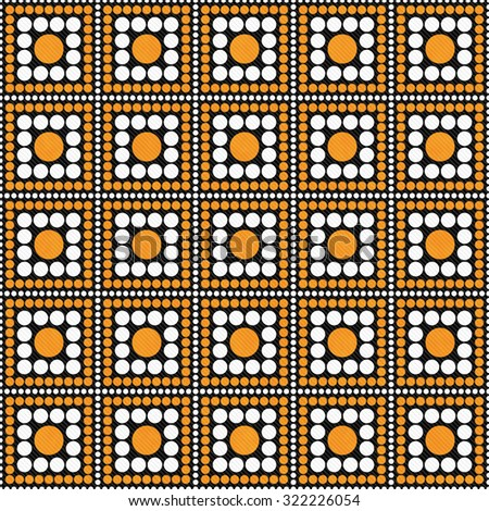 Orange, Black and White Polka Dot Square Abstract Design Tile Pattern Repeat Background that is seamless and repeats - stock photo