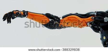 Orange-black stylish futuristic robotic arm - stock photo