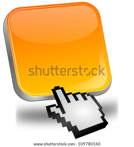 orange blank Button with cursor - stock photo