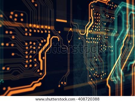 Orange, blue background with html code  - stock photo