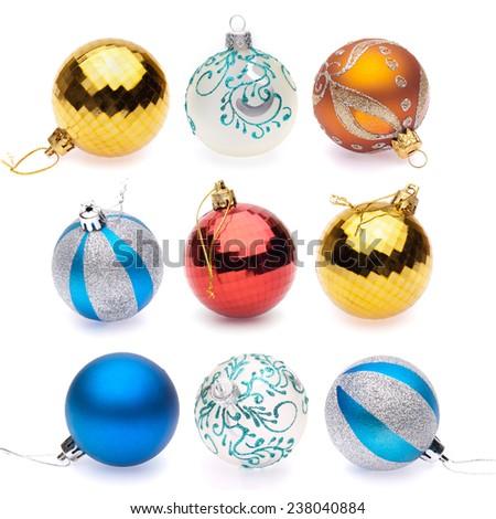 orange, blue, blue-silver, red, yellow, white christmas balls on white background - stock photo