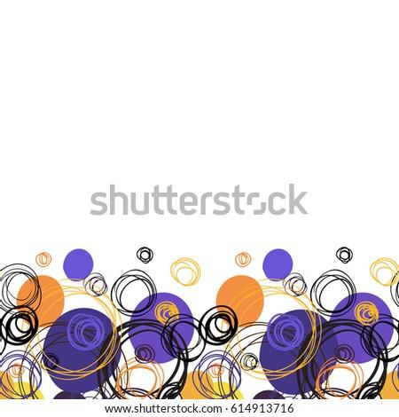 orange blue geometric abstract circles border elegant background black orange circle hand drawn doodles