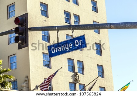 Orange Blvd street sign in Hollywood - stock photo