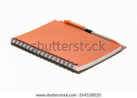 orange book isolated on white background. - stock photo
