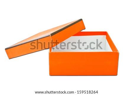 orange box on white background - stock photo